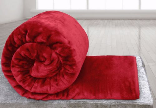 RED COLOUR SUPER SOFT PLUSH MINK THROW
